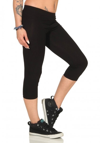 Damen 3/4 Capri Leggings Jogginghose